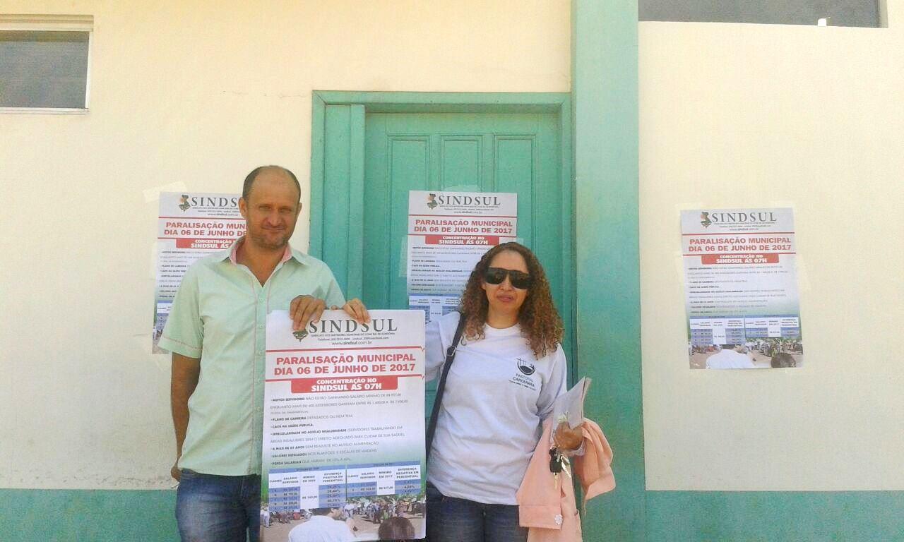 Sindicalistas espalham cartazes em pontos cruciais e convidam servidores para paralisação no próximo dia 06